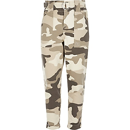 Girls beige camo paperbag trousers
