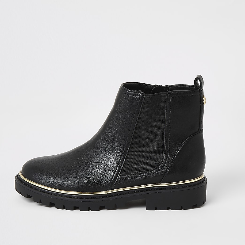 Girls black cleated Chelsea boots