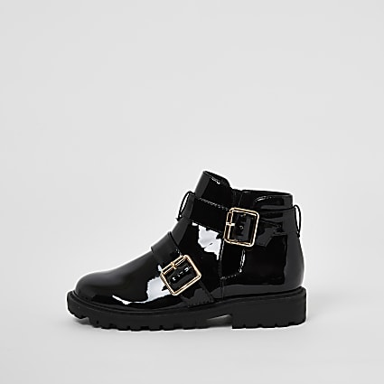 Girls black patent buckle chunky ankle boots