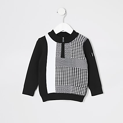 Mini boys dogtooth check black track top