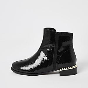 Zwarte lakleren Chelsea boots met parels voor meisjes