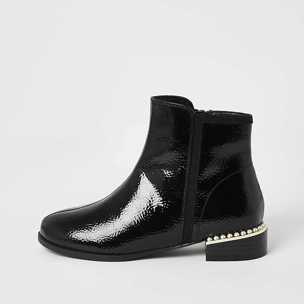 Girls black patent pearl Chelsea boots