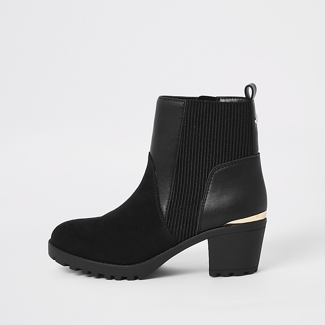 Girls black heeled ankle boots