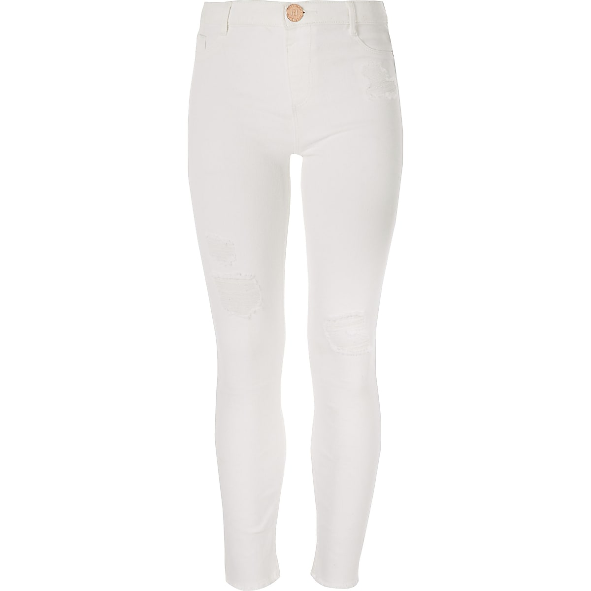 Girls white Molly mid rise jegging