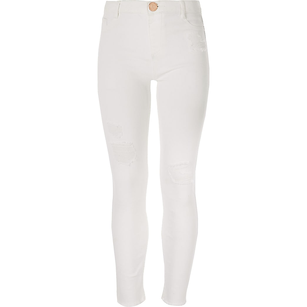 Witte ripped Molly jeggingsmet halfhoge taille