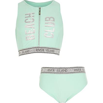 Girls mint 'Beach club' RI tape bikini set