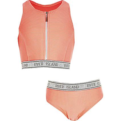 Girls coral zip front RI tape bikini set