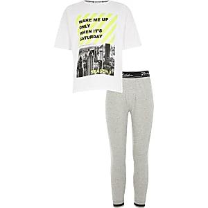 Grijze pyjama set met T-shirt met 'wake me up'-print voor jongens