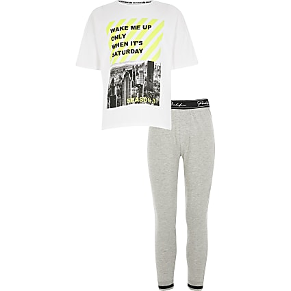 Boys grey 'wake me up' T-shirt pyjama set
