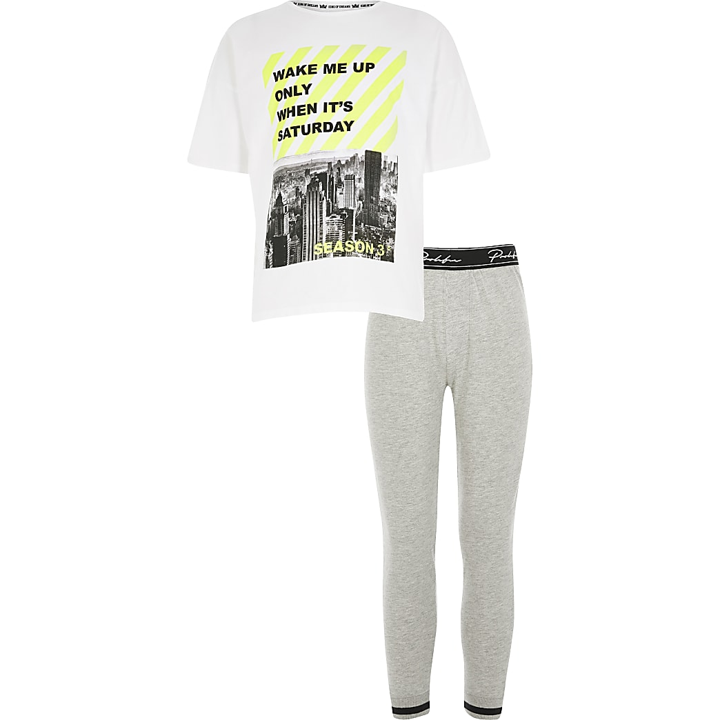 Boys grey 'wake me up' T-shirt pyjama set