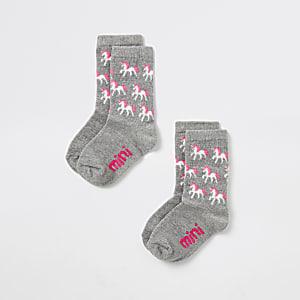 Lot de 2 chaussettes motif licornes grises Mini fille