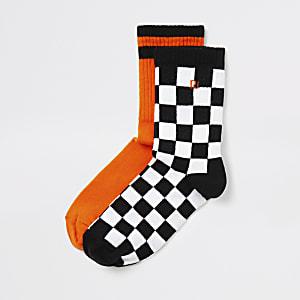 Set van 2 paar oranje en schaakbordprint sokken voor jongens