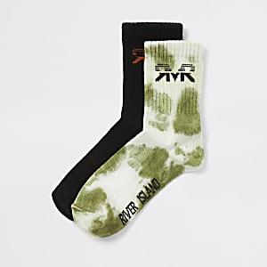 Kaki tie-dye sokken voor jongens set van2