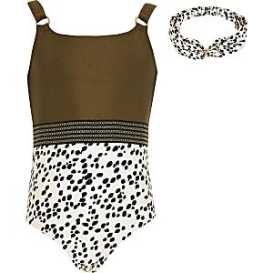 Gemusterter Badeanzug in Khaki mit Haarband für Mädchen