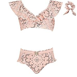 Roze bikiniset met bandanaprint en ruches voor meisjes