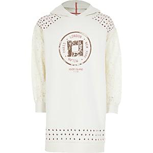 Girls cream RI lace sleeve hoodie dress