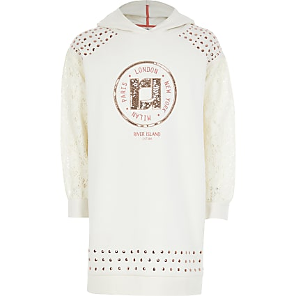 Girls cream RI lace sleeve hoodie dress