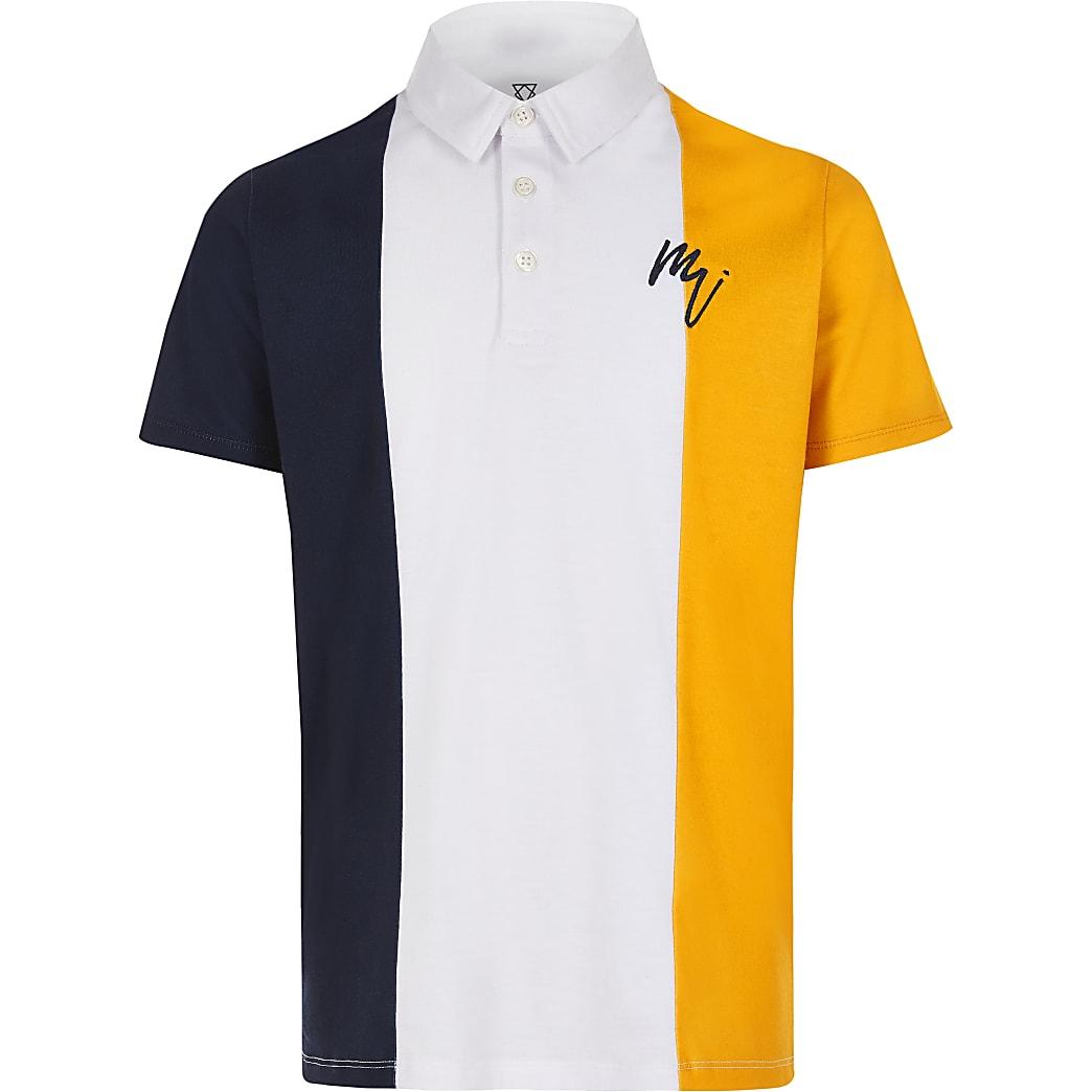 Boys yellow colour blocked polo shirt