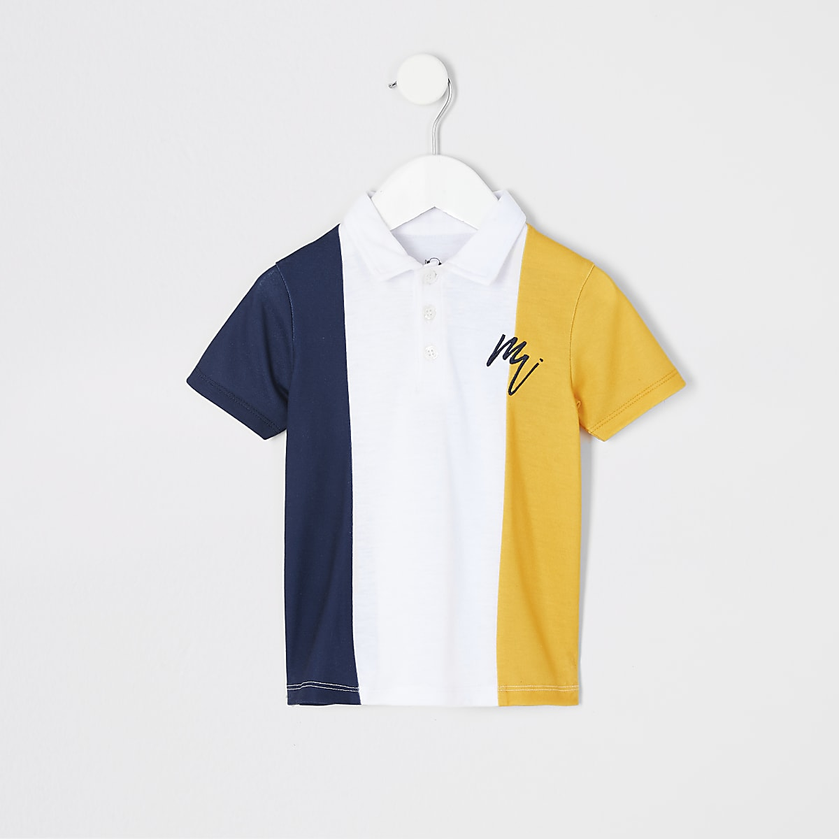 Mini boys yellow colour block polo shirt