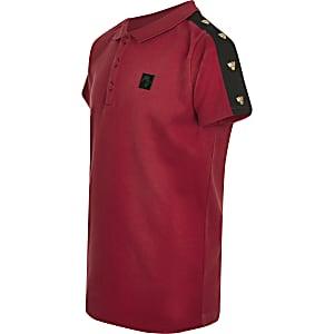 Rotes Poloshirt mit Tiger-Print und nietenbesetztem Streifen für Jungen