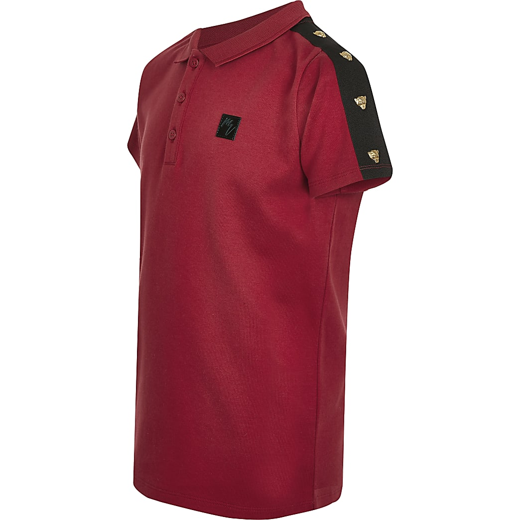 Boys red tiger stud tape polo shirt