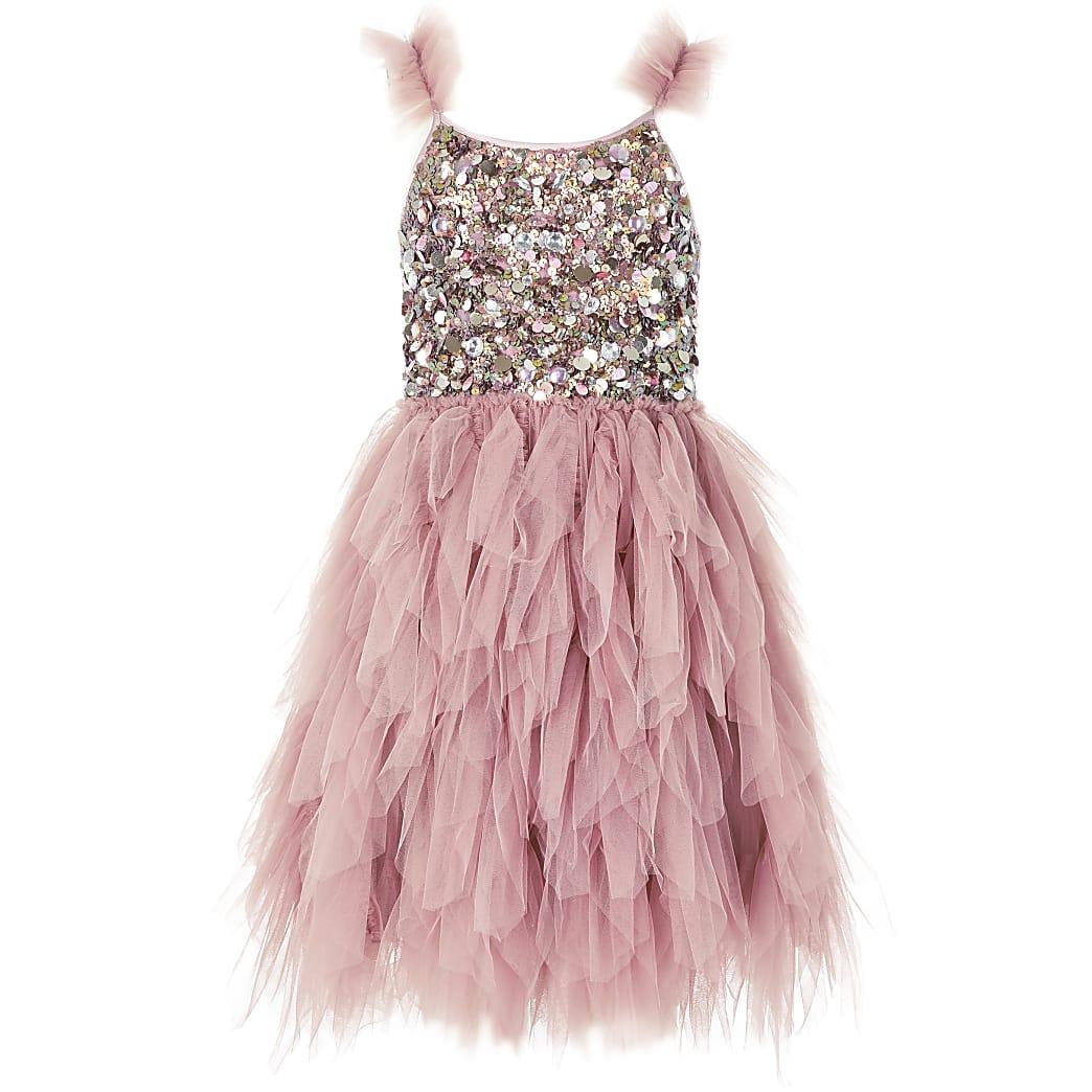 Girls Liberated Folk pink sequin dress
