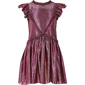 Liberated Folk– Robe roseà volants pour fille