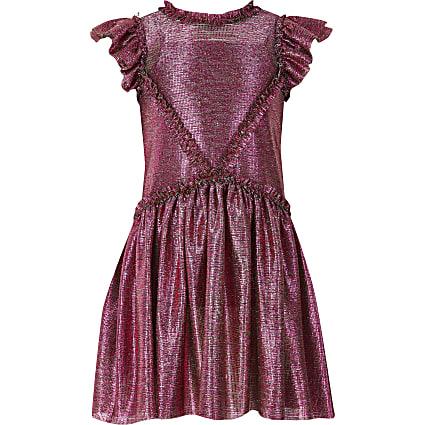 Girls Liberated Filk pink ruffle dress