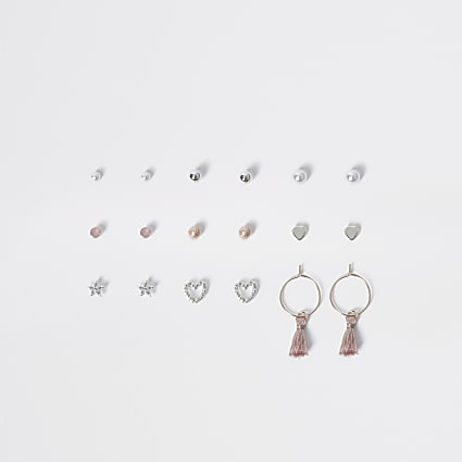 Girls silver stud pearl earring multipack