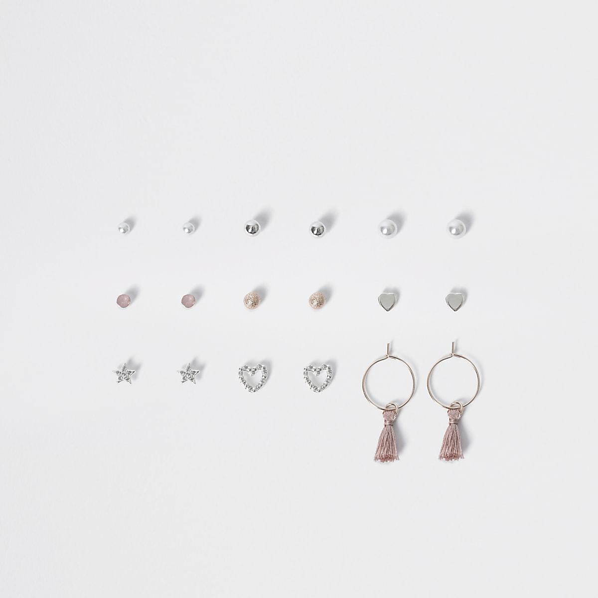 Multipack met zilverkleurige oorknopjes met parels voor meisjes