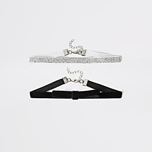 Set van 2 zwarte en zilverkleurige chokerkettingen voor meisjes
