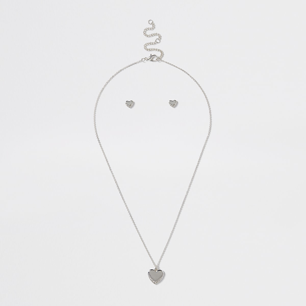 Girls silver heart necklace and earring set