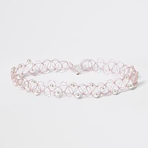Collierras-de-cou rose effet tatouage avec perles fantaisie pour fille