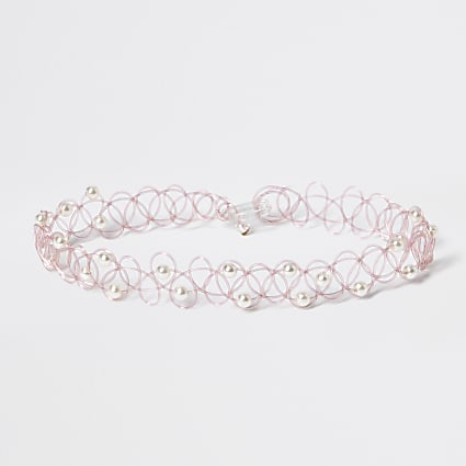 Girls pink faux pearl tattoo choker necklace