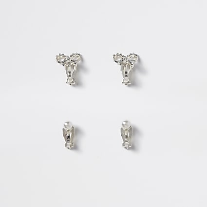 Girls silver bow pearl clip on earring 2 pack