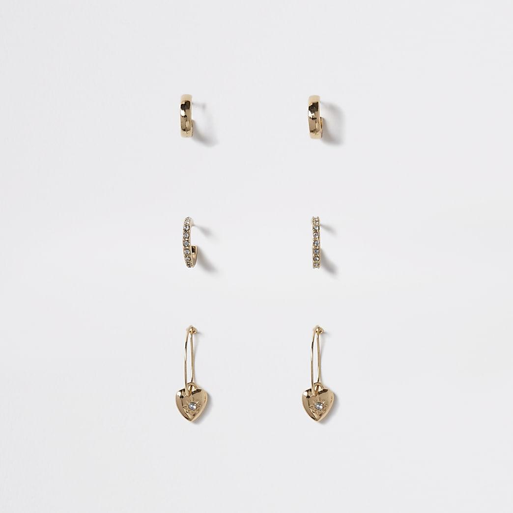 Girls gold colour heart hoop earring 3 pack
