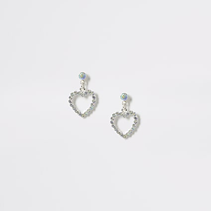 Girls silver diamante heart drop earrings