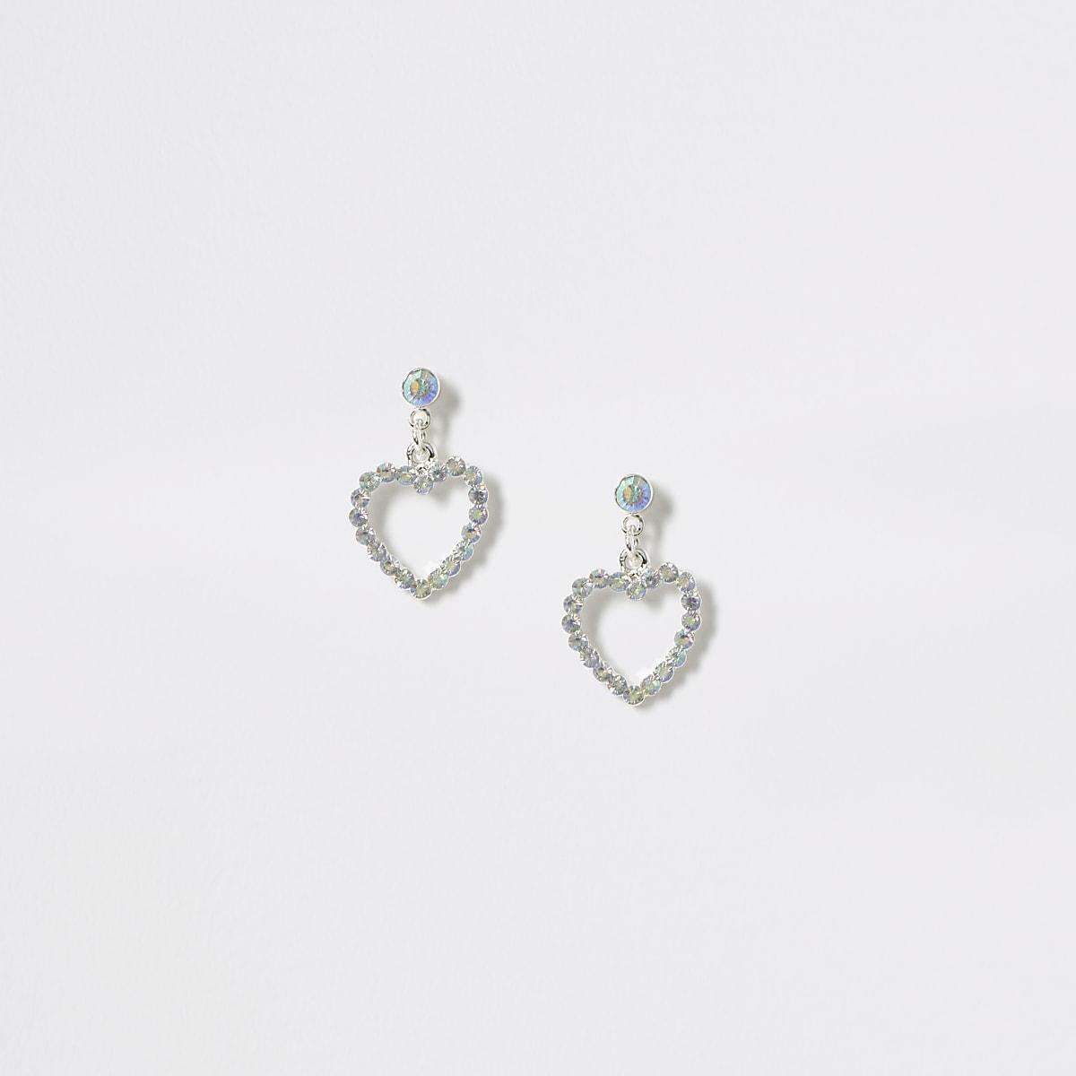 Girls silver diamante heart drop earrings