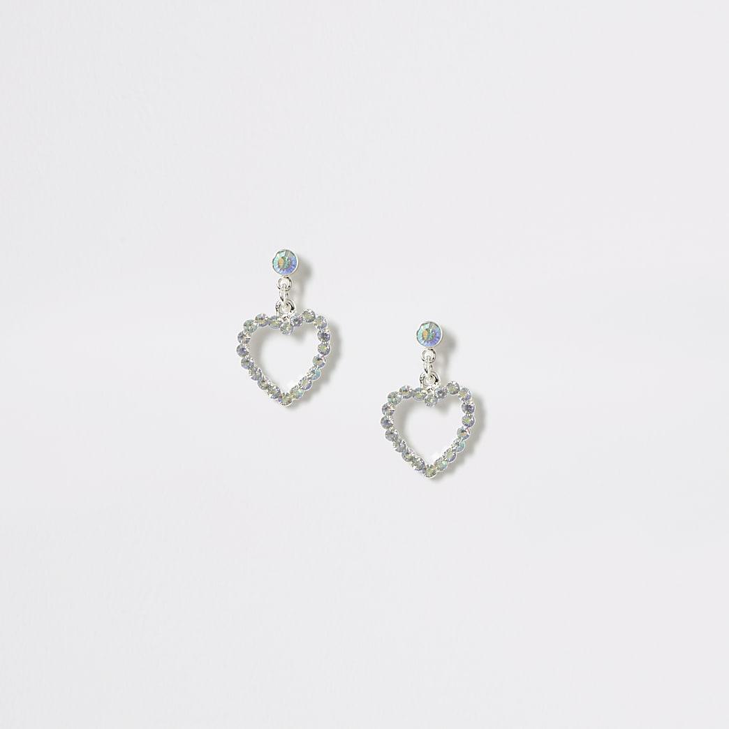 Girls silver colour diamante heart earrings