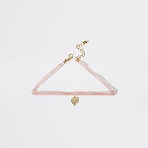 Collier ras-de-cou rose avec pendentifcœurpour fille