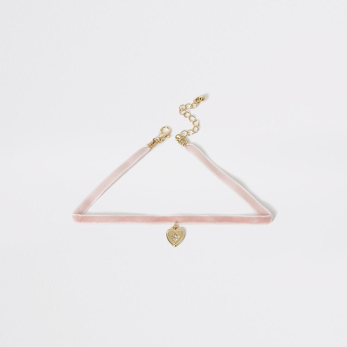 Girls pink heart pendant drop choker necklace