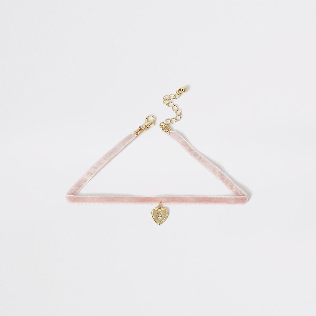 Roze chokerketting met harthanger voor meisjes