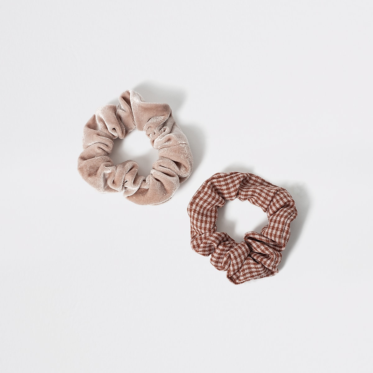 Girls pink velvet check scrunchie 2 pack