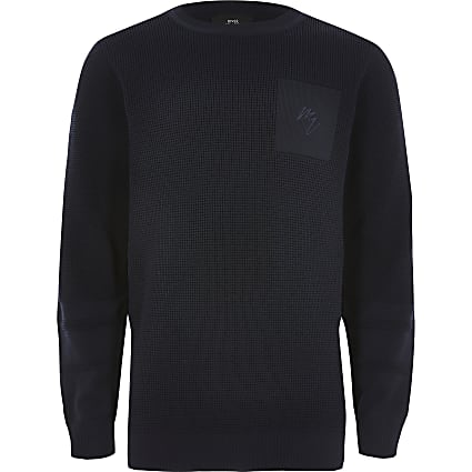 Boys navy knitted long sleeve jumper
