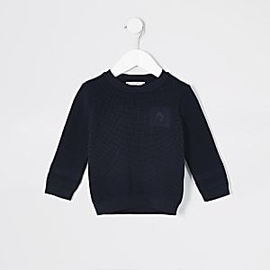 Mini - Marineblauwe gebreide pullover voor jongens