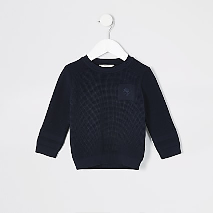 Mini boys navy knitted jumper