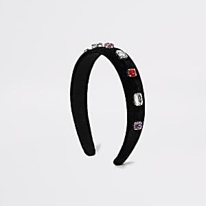 Serre-tête en velours noir orné de bijoux fantaisie pour fille