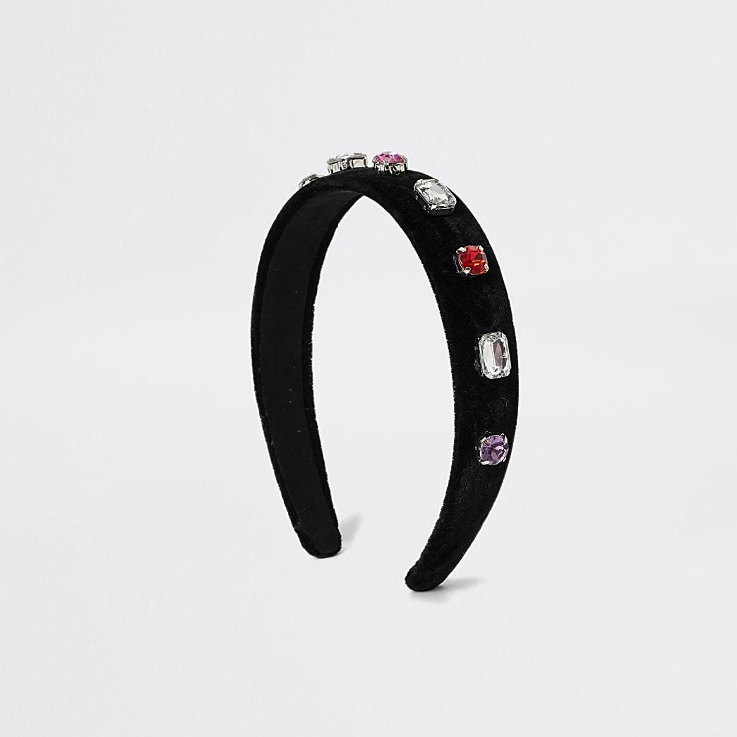 Zwarte fluwelen haarband verfraaid met juwelen voor meisjes