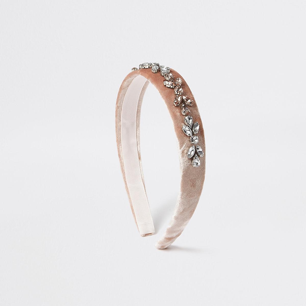 Girls pink diamante embellished headband