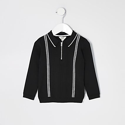 Mini boys black half zip knitted polo shirt